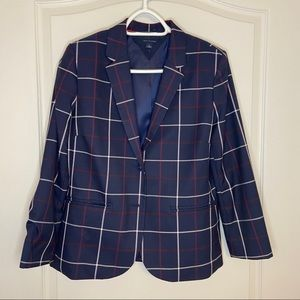 Tommy Hilfiger plaid navy blazer